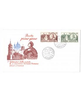 Vatikanas. Pirmos dienos vokas, išleistas 1959 m. Šv. Kazimiero garbei.