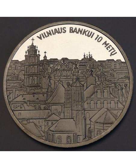 "Medalis ""Vilniaus bankui 10 metų"", (Ag0.925)"