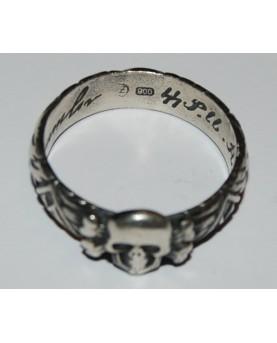Vokietija. Sidabrinis SS karininko žiedas, 1944 m. Originalas