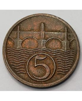 Čekoslovakija. 5 Haléřů, 1938