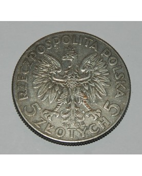 Lenkija. 5 zlotych, 1934 m....