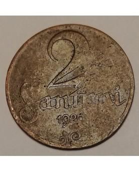 Latvija. 2 santimi, 1926 m.