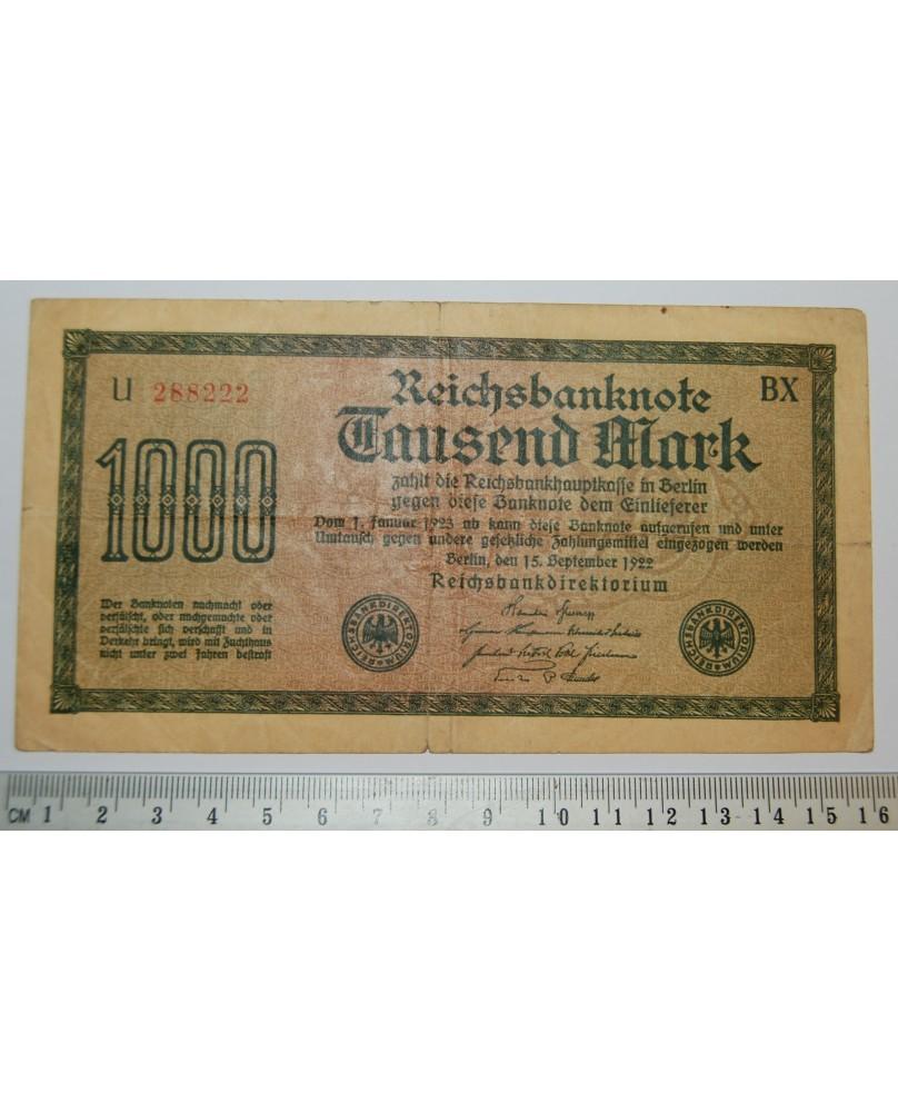 Vokietija. 1000 markių, 1922 m. U288222 (b001)