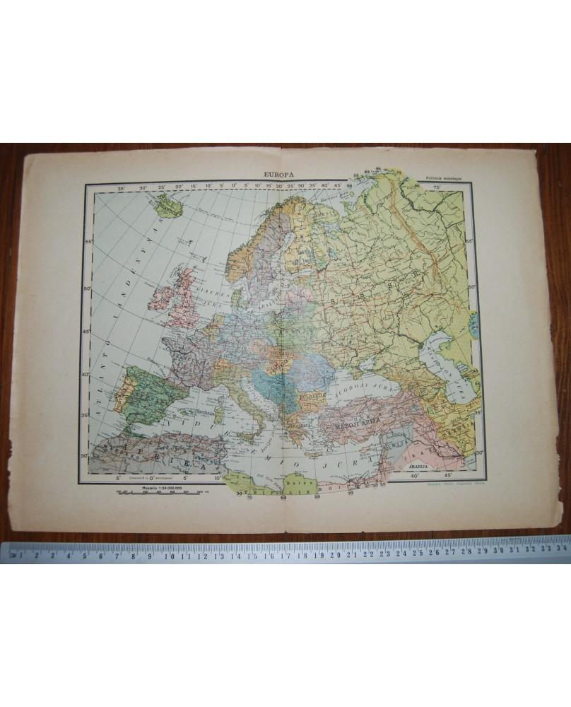 Lietuviškas ikikarinis Europos žemėlapis (34x24 cm), (n082)