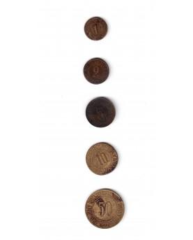 "Ukraina/Rusija. 5 žetonai ""Pud hleba - rubl truda"" 1921, Kijevas. RRR (c891)"